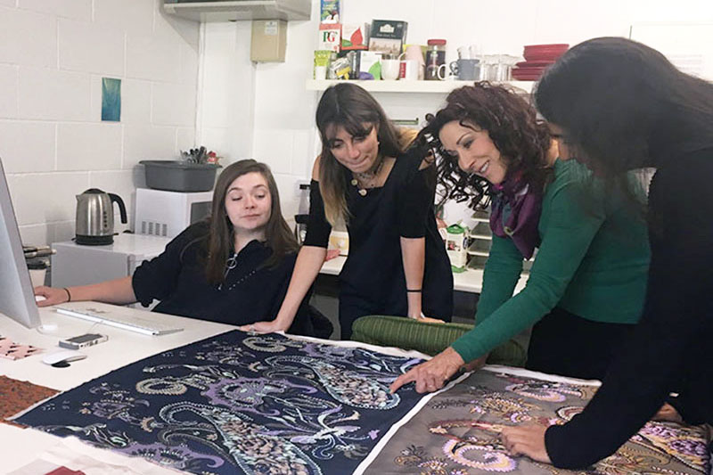 The English Eccentrics team looking at prints | Bespoke Textiles