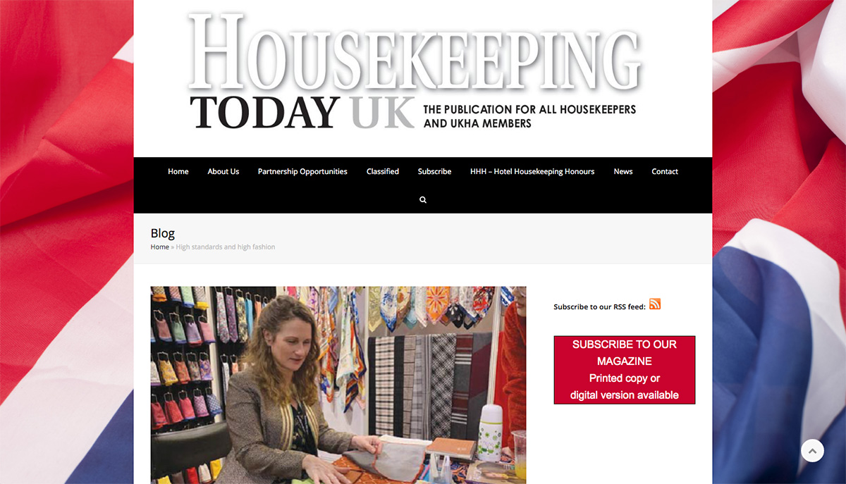 Bespoke Textiles feature in Housekeeping Today