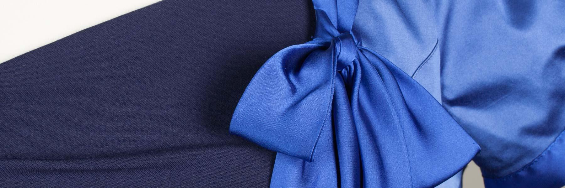 Bespoke Textiles blue pussy bow dress