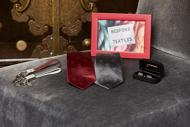 Leather keyrings (BT037K), stainless steel cufflinks (BT026C) & Jacquard silk and microfibre ties (BT031T & BT032T)