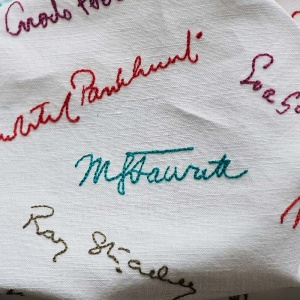 Suffragette Project embroidered napkin (BT044N)