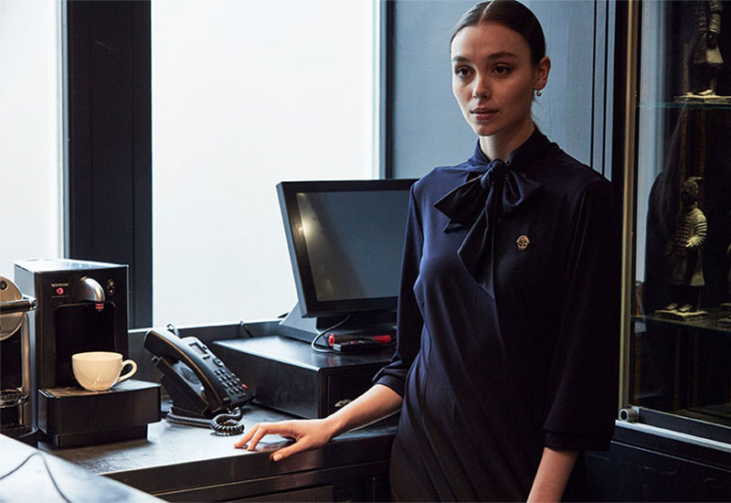 Model wearing luxury uniform | Bespoke Textiles
