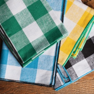 A selection of napkins in a checked colour style